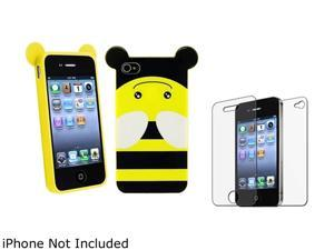 Insten Blue Owl TPU Rubber Case with 2 LCD Kit (Front & Back) Anti-Glare Screen Cover for iPhone 4 / 4S 1475208