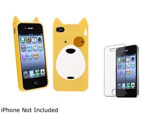 Insten Multiple Dog TPU Rubber Case with Reusable Screen Protector Compatible with Apple iPhone 4 / 4S 1475210