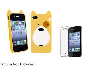 Insten Multiple Dog TPU Rubber Case with Anti-Glare LCD Cover Compatible with Apple iPhone 4 / 4S 1475211
