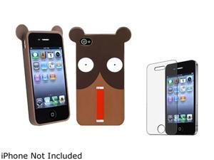 Insten Multiple Shocking Bear TPU Rubber Case with Anti-Glare LCD Cover Compatible with Apple iPhone 4 / 4S 1475229