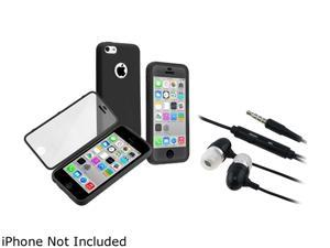 Insten Black/ Clear Frosted Cover Book TPU Case with In-ear (w/on-off) Stereo Headsets Compatible with Apple iPhone 5C 1475265