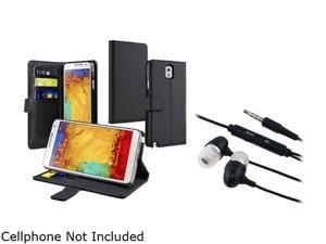 Insten Black Stand Leather with Card Slot Case + Black In-ear (w/on-off)&Mic Stereo Headsets for Galaxy Note 3 1496891