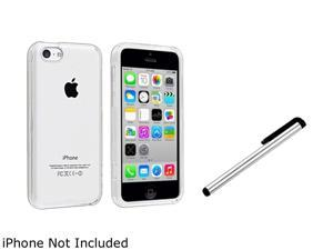 Insten Clear Hard Slim Case with Silver Stylus Compatible with Apple iPhone 5C 1530168