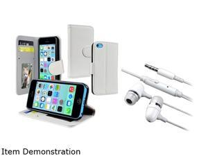 Insten White Wallet with Stand Leather Case with White In-ear (w/on-off) Headset Compatible with Apple iPhone 5C 1530307