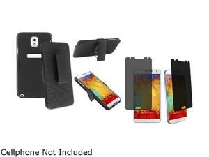 Insten Black Swivel Holster with Stand Case with Privacy Screen Cover Compatible with Samsung Galaxy Note 3 1566774