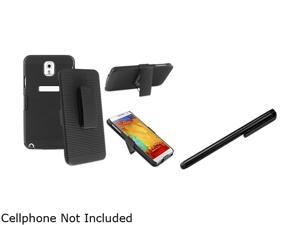 Insten Black Swivel Holster with Stand Case with Black Stylus Pen Compatible with Samsung Galaxy Note 3 1566777