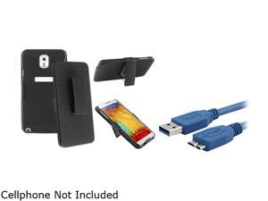Insten Black Swivel Holster with Stand Case with 1 Charging Data Cable Compatible with Samsung Galaxy Note 3 1566779
