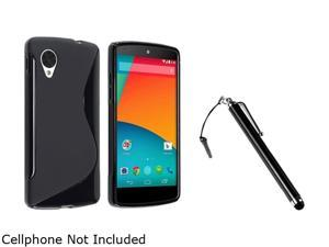 Insten Black S Shape TPU Rubber Case with Black Stylus Pen Compatible with LG Nexus 5 E980 1593931