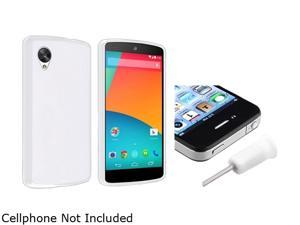 Insten White Jelly TPU Rubber Case with White Headset Dust Cap Compatible with LG Nexus 5 E980 1593964