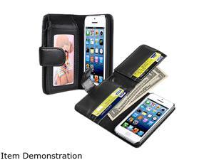 Insten Black Wallet Leather Case For Apple iPhone 5C 1301180
