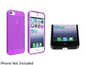 Insten Purple TPU Case + Clear Docking Port Cap compatible with Apple iPhone 5 1299735