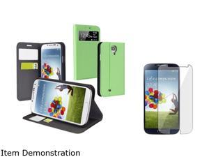 Insten Green with Stand and Sleep Mode Function Leather Case with Screen Protector for Samsung Galaxy S4 i9500 1401107