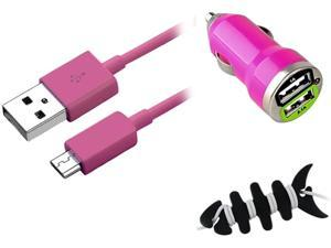 Insten Hot Pink Micro USB 2- in-1 Cable + Black Headset Smart Wrap, Black Fishbone + Hot Pink Dual USB Mini Car Charger Adapter for HTC One X S V EVO 4G Droid DNA Inspire 4G