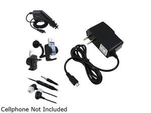 Insten Black Travel Charger + Black Car Charger (Micro USB) + Black In-Ear Headset w/ On-off & Mic Bundle Compatible With ...