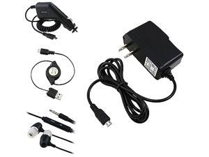 Insten Black Travel Charger + Black Car Charger (Micro USB) + Black [2-in-1] Micro USB Cable Bundle Compatible With HTC One ...