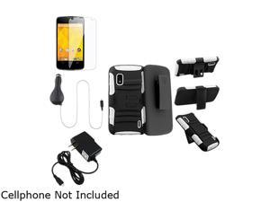 Insten White Skin/ Black Hard Hybrid Armor Case w/ Stand + Black Travel Charger + Screen Protector Bundle Compatible With ...