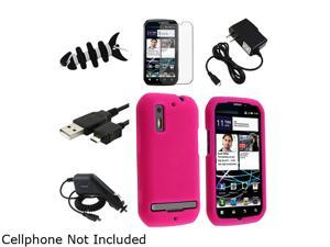 Insten Hot Pink Silicone Skin Case + Black Travel Charger + Screen Protector Bundle Compatible With Motorola MB855 Photon ...