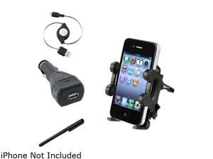 Insten Holder Mount + Black Car Charger + Cable + Black Stylus Compatible with Samsung Galaxy S4 i9500 S3