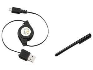Insten Retractable Micro USB Cable + Black Stylus Compatible with Samsung Galaxy S3 i9300 S4 i9500 S3