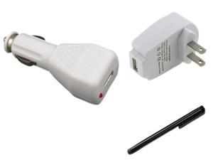 Insten White AC DC Charger + Black Stylus Compatible with Samsung Galaxy SIII i9300 i9500 S4 SIV T989