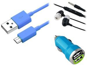 Insten Blue Car Charger + USB Cable + Black Headset Compatible with Samsung Galaxy S4 S3 I9300 i9500 Note 2