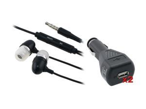 Insten 2x Charger Adapter + Black Headset Compatible with Samsung Galaxy S3 i9300 i9500 S4 SIV N7100