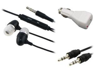 Insten White Car Charger + USB Cable + Black Headset Compatible with Samsung Galaxy S3 SIII i9300 IV S4 i9500