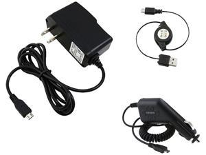 Insten Retractable USB Cable + Car Home Chargers Compatible with Samsung Galaxy S3 SIII i9300 S4 i9500