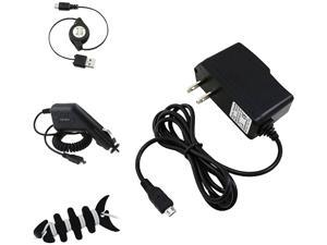 Insten USB Cable + Car Home Chargers + Fishbone Wrap Compatible with Samsung Galaxy S3 SIII i9300 S4 i9500