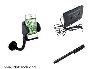 Insten Mount + Tape Adapter + Black Stylus Compatible with Samsung Galaxy S3 i9300 i9500 S4