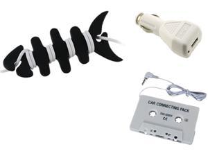 Insten Car Charger + Audio Cassette + Fishbone Wrap Compatible with Samsung Galaxy Note 2 S4 i9500