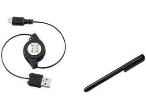 Insten Black Micro USB Cable + Black Stylus Compatible with Samsung Galaxy S3 SIII i9300 Note 2 S4 i9500