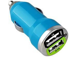 Insten Dual USB Mini Car Charger Adapter Compatible with Blackberry Z10, Blue