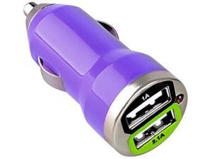 Insten Dual USB Mini Car Charger Adapter Compatible with Blackberry Z10, Purple
