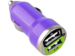 Insten Dual USB Mini Car Charger Adapter, Purple