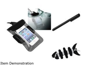 Insten Black Headset Smart Wrap, Black Fishbone + Clear Black Waterproof Bag + Black Touch Screen Stylus for iPhone 5 4 4S 3G 3GS