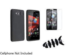 Insten Black Silicone Case + Reusable Screen Protector + Black Headset Smart Wrap, Black Fishbone Compatible With Motorola ...