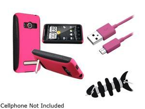 Insten Black TPU/Hot Pink Plastic Hybrid Case + Hot Pink Micro USB 2- in-1 Cable + Black Headset Smart Wrap, Black Fishbone ...
