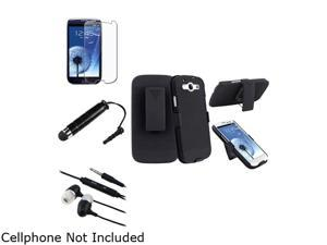 Insten Black In-Ear Headset w/ On-off & Mic + Black Holster w/ Stand + Screen Protector Bundle Compatible With Samsung Galaxy ...