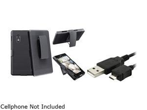 Insten Black Swivel Holster with Stand Case + Charging Data Cable Compatible with LG Optimus G E970