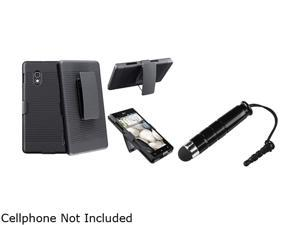 Insten Black Swivel Holster with Stand Case + Black Stylus Pen Compatible with LG Optimus G E970