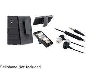 Insten Black Swivel Holster with Stand Case + Black In-ear (w/on-off) & Mic Stereo Headsets Compatible with LG Optimus G ...
