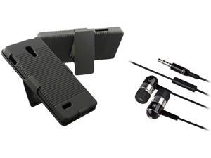 Insten Black Swivel Holster with Stand Hard Plastic Case + Black / Chrome Silver In-ear (w/on-off) & Mic Stereo Headsets ...