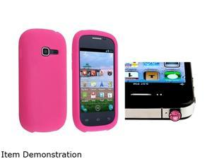 Insten Hot Pink Silicone Skin Case + Pink Diamond Headset Dust Cap Compatible with Samsung Galaxy Centura S738C