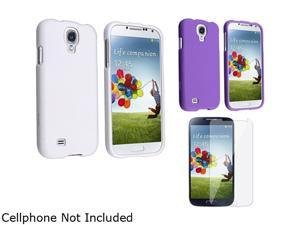 Insten White + Purple 2pc Hard Phone Case + Clear LCD Cover Compatible with Samsung Galaxy S4 SIV i9500