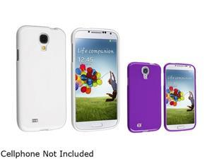 Insten White + Purple Jelly TPU Silicone Soft Gel Case Compatible with Samsung Galaxy SIV S4 i9500