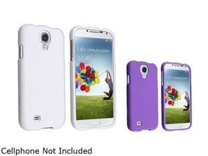 Insten White + Purple Rubber Hard Skin Phone Case Cover Compatible with Samsung Galaxy S4 SIV i9500