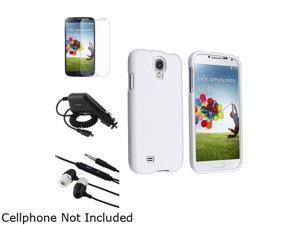 Insten White Hard Case + Matte Screen Protector + Charger + Black Headset Compatible with Samsung Galaxy SIV S4 i9500