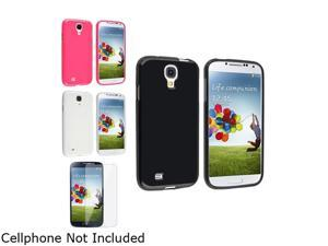 Insten Black + Pink + Clear Rubber TPU Case + Clear LCD Screen Protector Compatible with Samsung Galaxy SIV S4 i9500