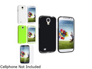 Insten Black + White + Green TPU Skin Gel Case + Clear LCD Screen Protector Compatible with Samsung Galaxy SIV S4 i9500